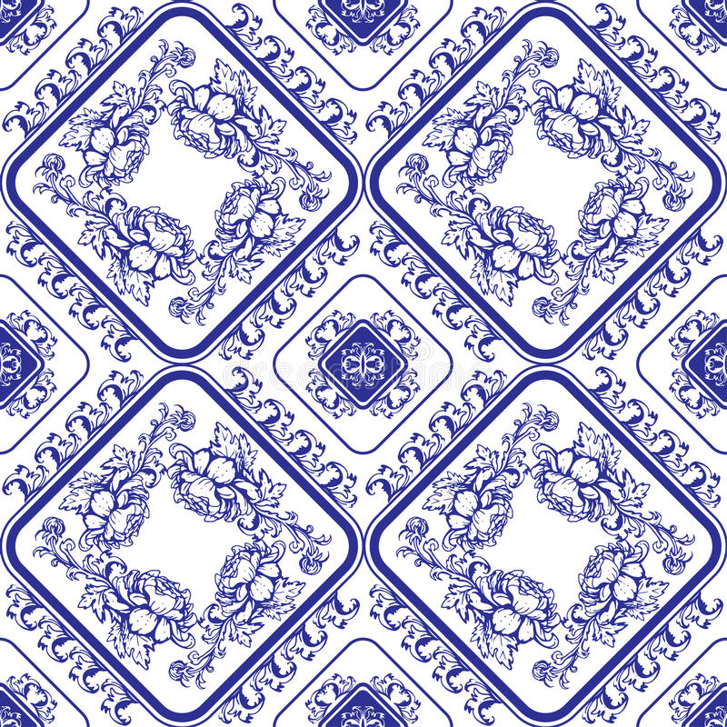 Seamless blue floral pattern. Background in the style of Chinese stock illustration
