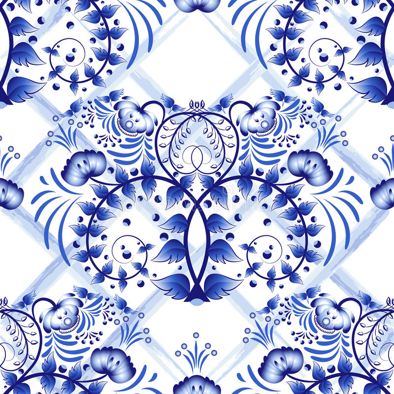 Seamless blue floral pattern with lattice strips of watercolor. Imitation of painting on porcelain in the Russian style Gzhel or C vector illustration