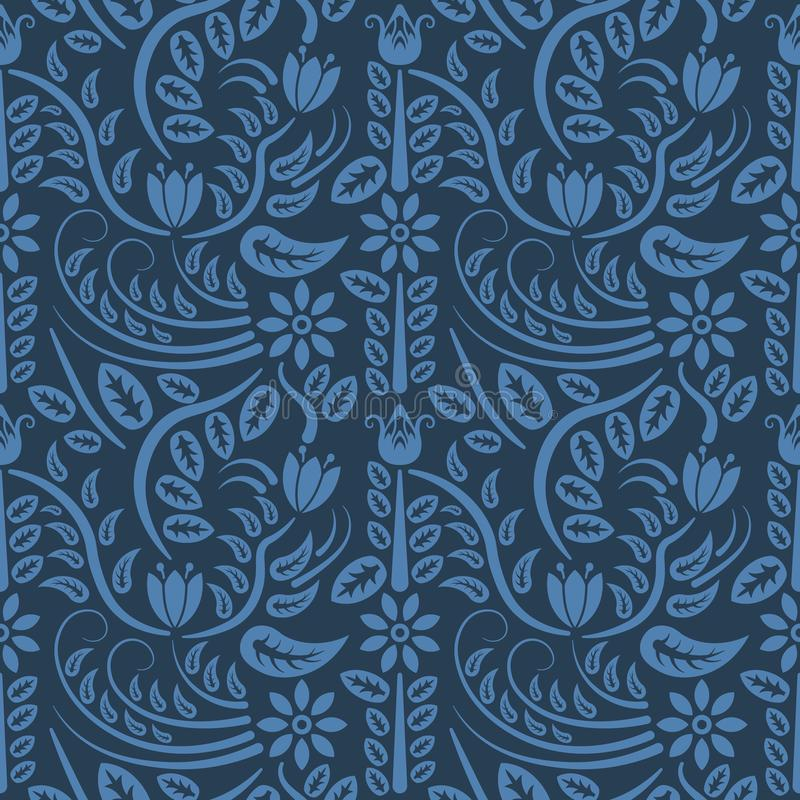 Download Seamless Blue Floral Pattern Vector Endless Texture Can Be Used For Wallpaper