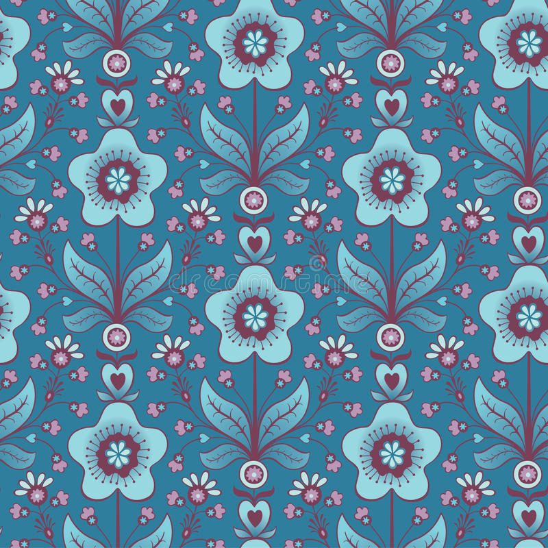 Download Seamless Blue Flower Background Stock Vector - Image: 66491900
