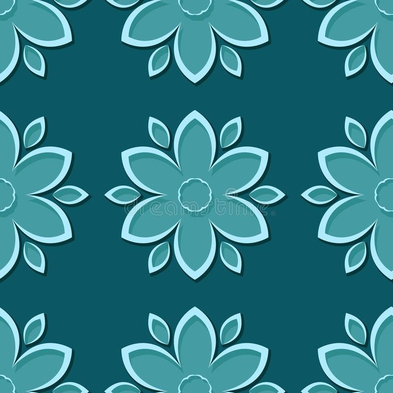 Seamless blue green background with 3d floral elements stock illustration