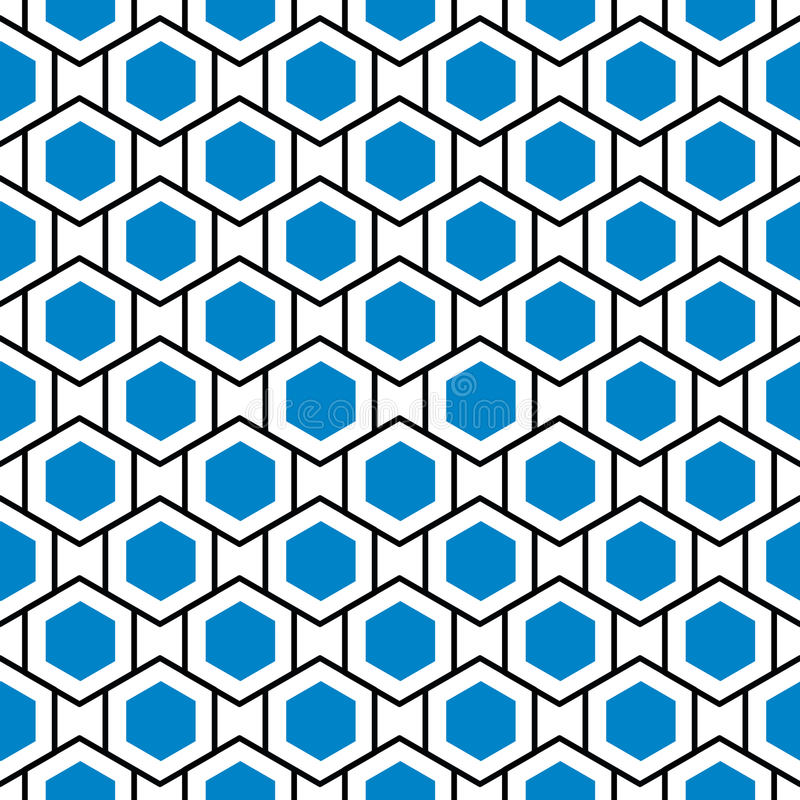 Seamless blue hexagons hive grid background stock illustration