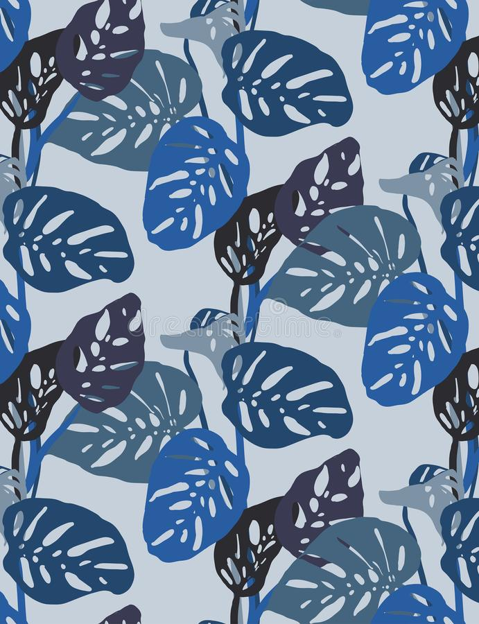 Seamless blue monstera leaves pattern, tropical mood in bright blue tones royalty free stock photos