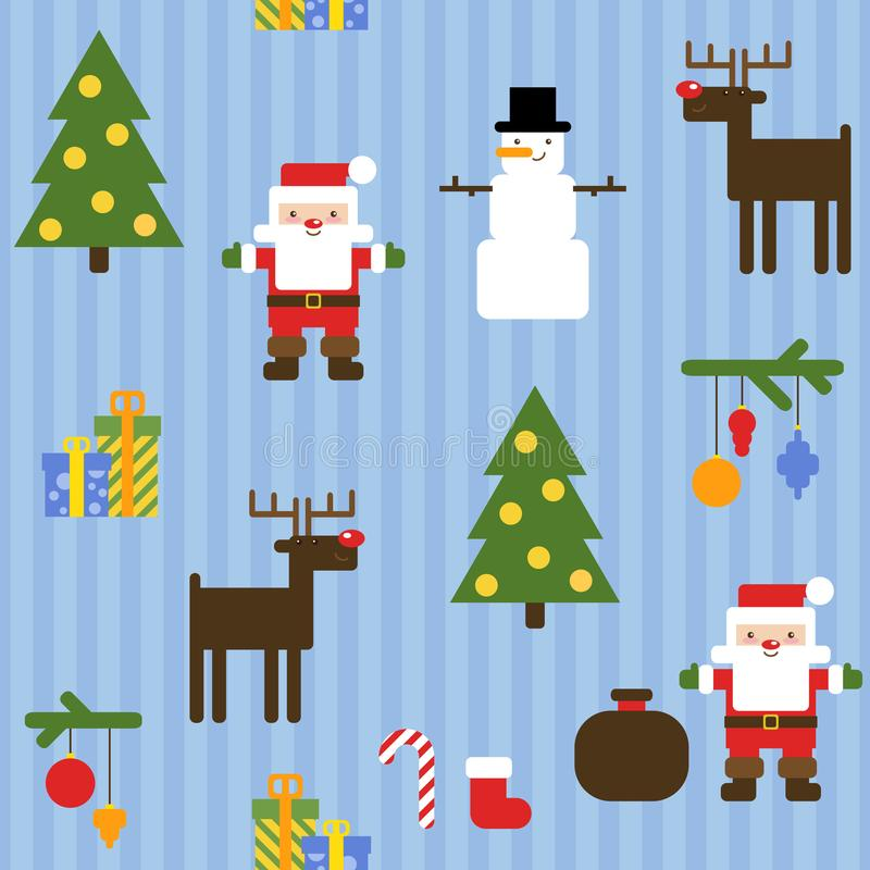 Seamless blue pattern with cute Santa Claus, snowman, reindeer, Christmas tree and presents vector illustration