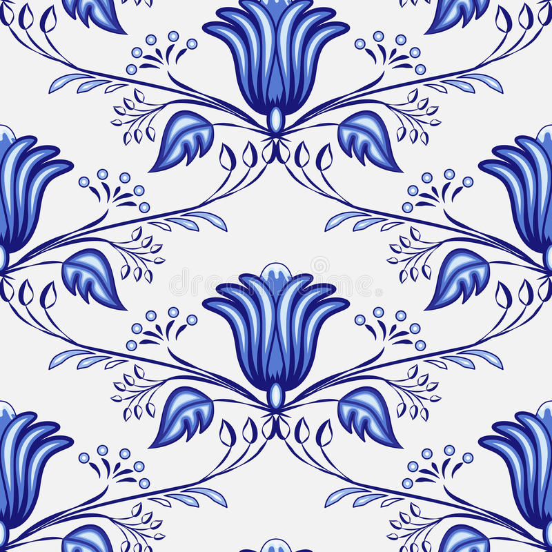 Seamless blue pattern from flowers and branches. Stylization of the Russian or Chinese painting on porcelain. stock illustration