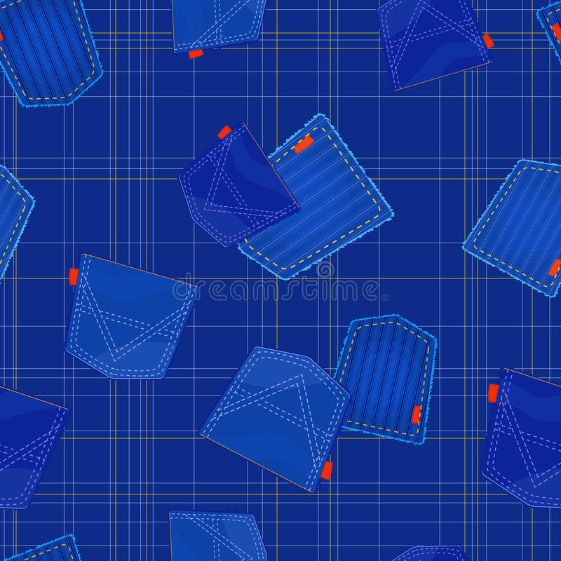 Seamless blue pattern with jeans pockets stock illustration