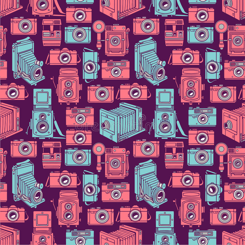 Seamless blue and pink cameras vector illustration