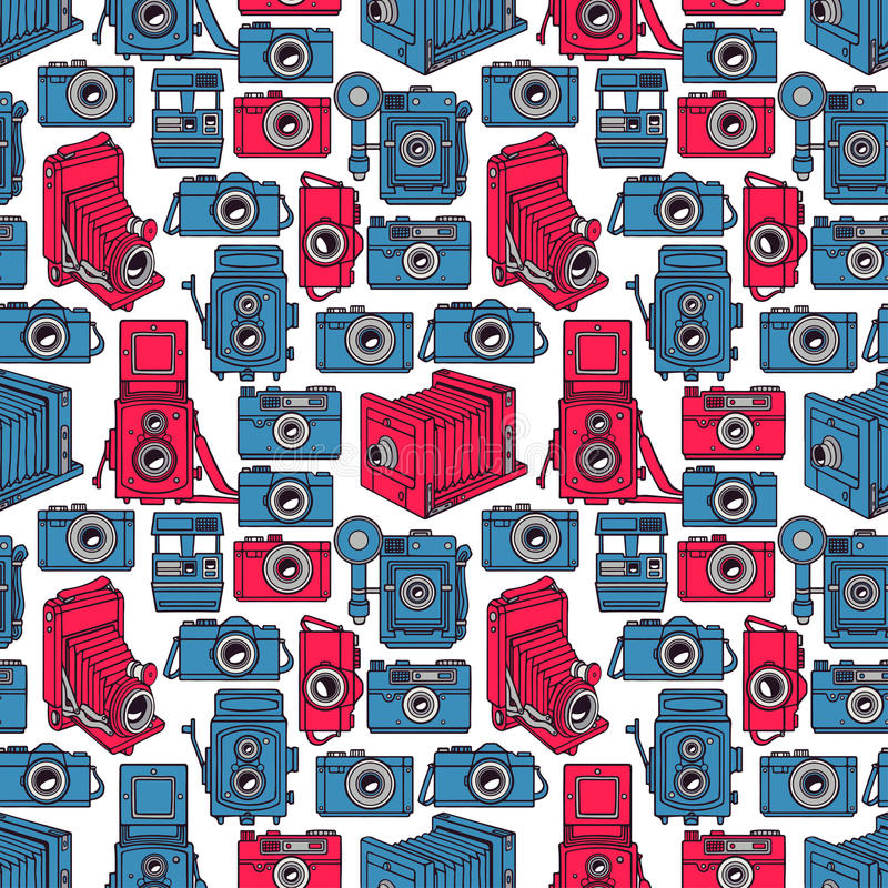 Seamless blue and pink cameras stock illustration