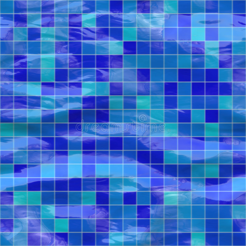 Seamless blue tiles, submerged. Blue ceramic tiles submerged under water, seamlessly tillable vector illustration