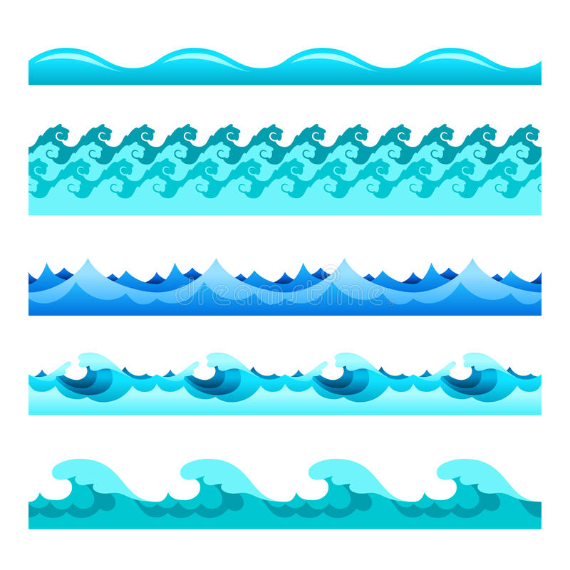 Seamless blue water wave vector bands set for footers, patterns and textures vector illustration
