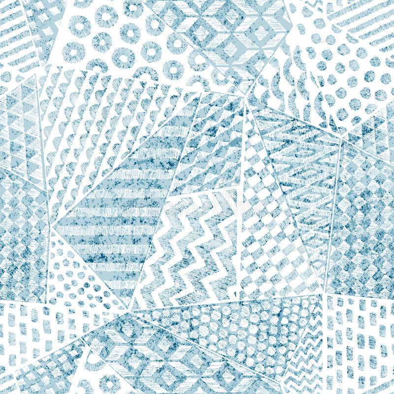 Seamless blue and white pattern in patchwork style. Handmade pencil drawing on paper. Print for textiles. Vector illustration royalty free illustration