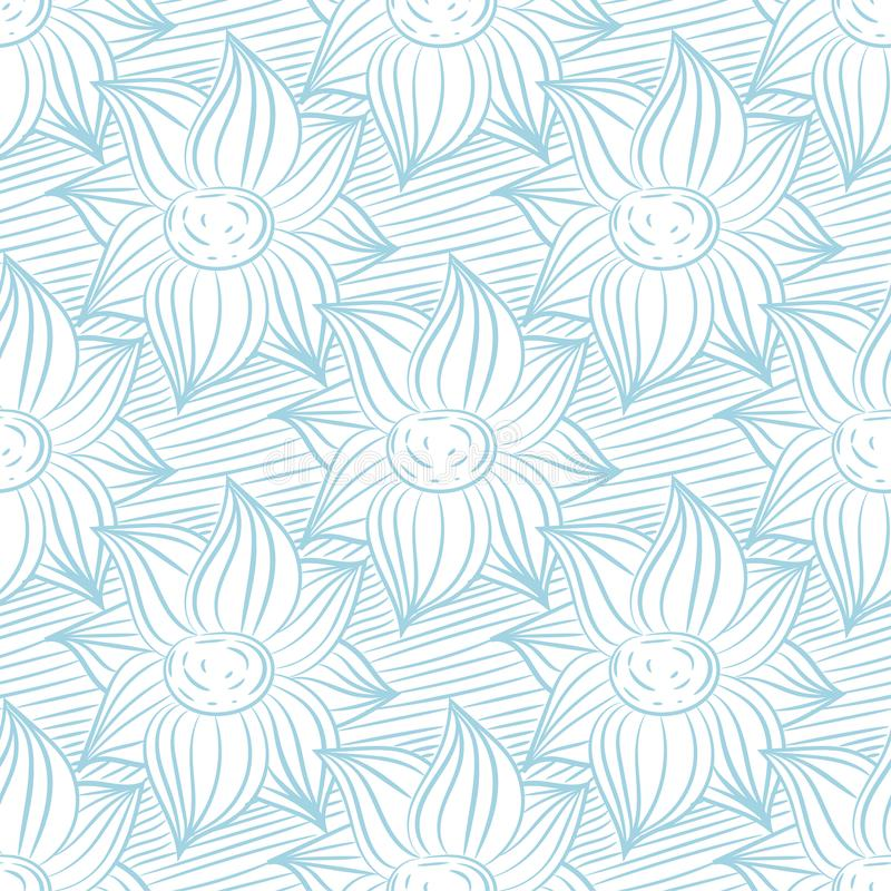 Seamless blue and white pattern with wallpaper ornaments royalty free illustration