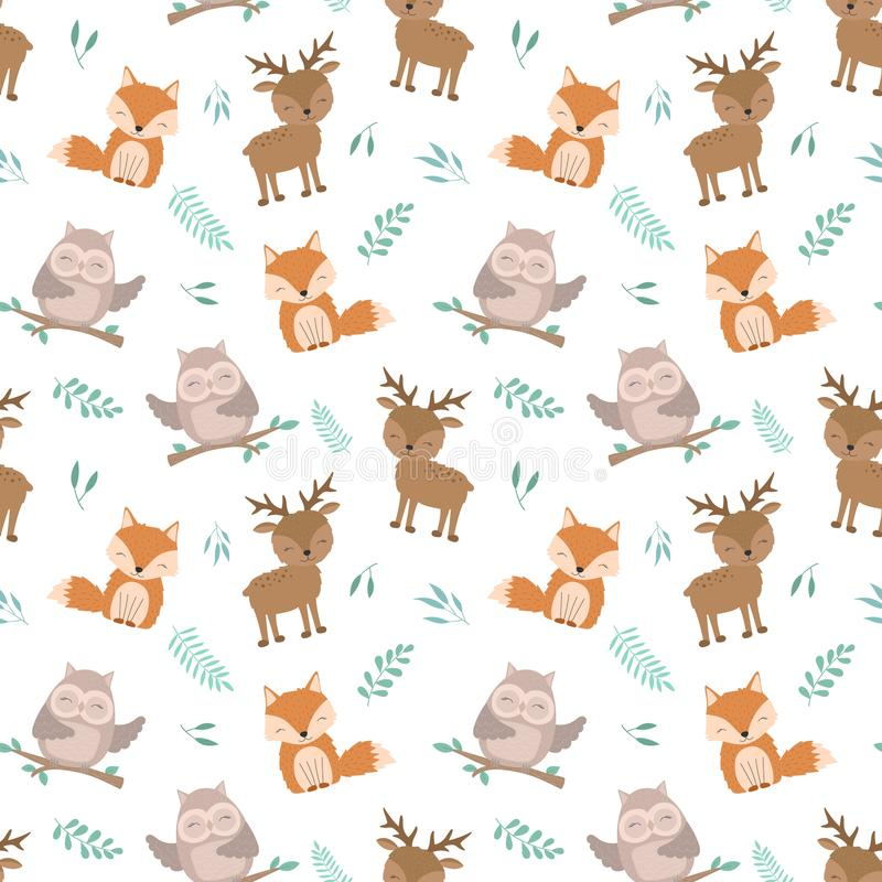 Seamless boho pattern. Illustration of cute forest animals. Vector image of a hand-drawn owl, deer, fox with leaves. For print, background, textile, holiday stock illustration