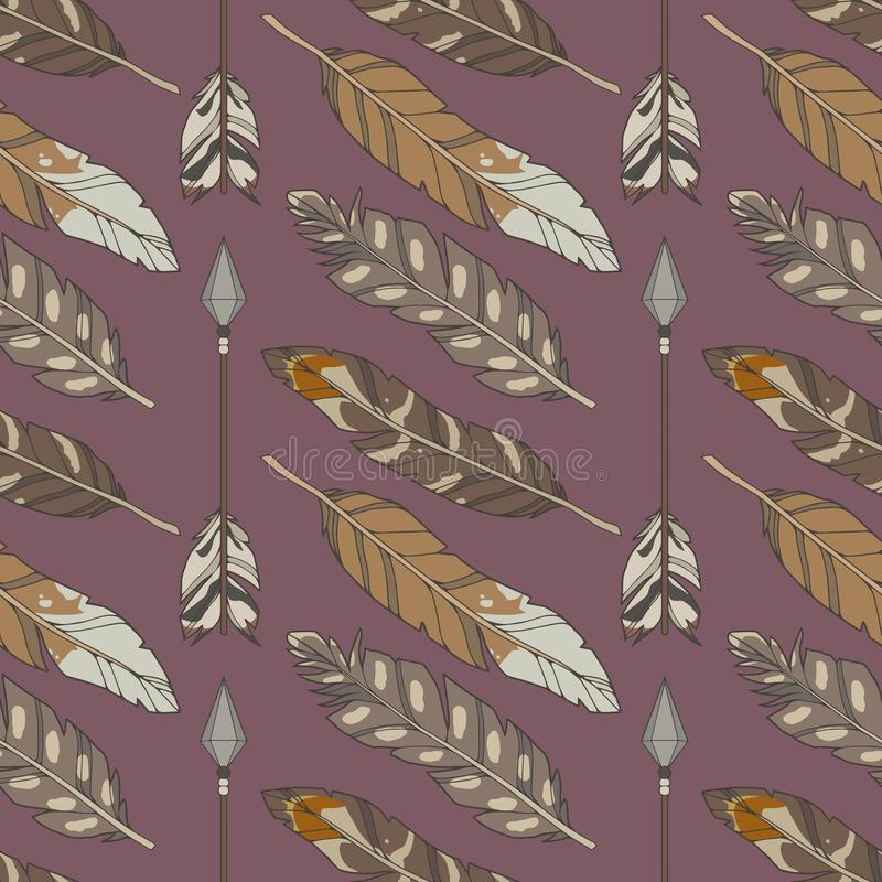 Seamless boho pattern with natural colored eagle feathers and arrows on purple background stock illustration