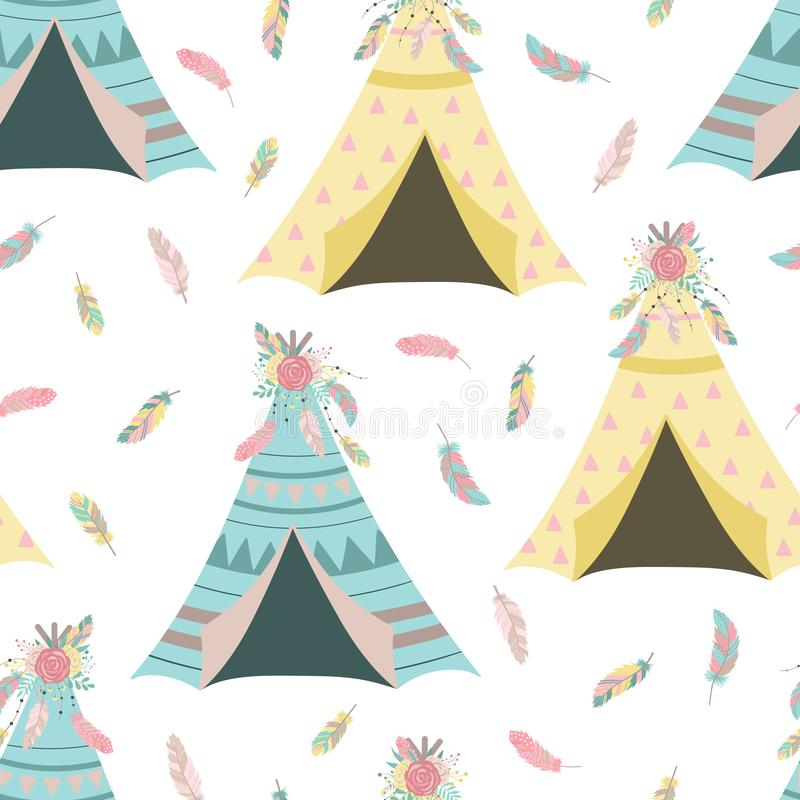 Seamless boho pattern. Vector image on national American motifs. Illustration of big blue and yellow wigwams with feathers and flo stock illustration