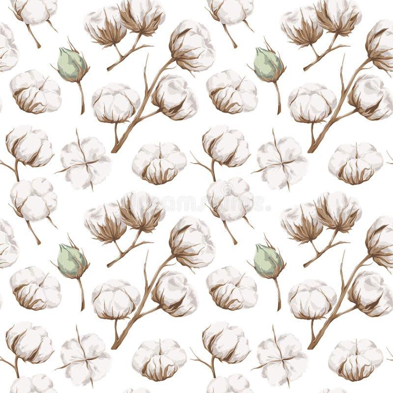 Seamless bomullsmodell stock illustrationer