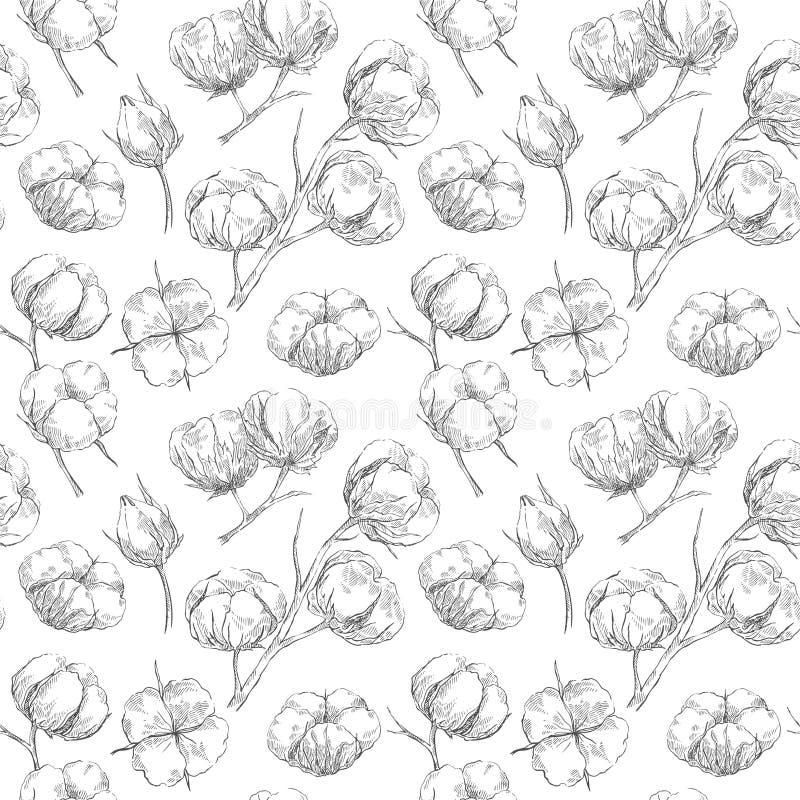 Seamless bomullsmodell royaltyfri illustrationer