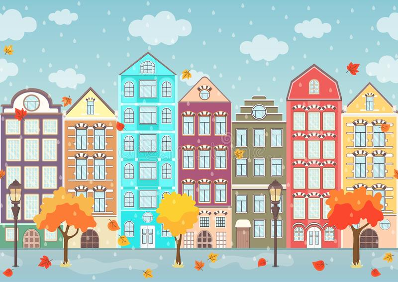 Seamless border of autumn colorful houses, trees and dripping rain, exterior urban landscape, city background. European facades in stock illustration