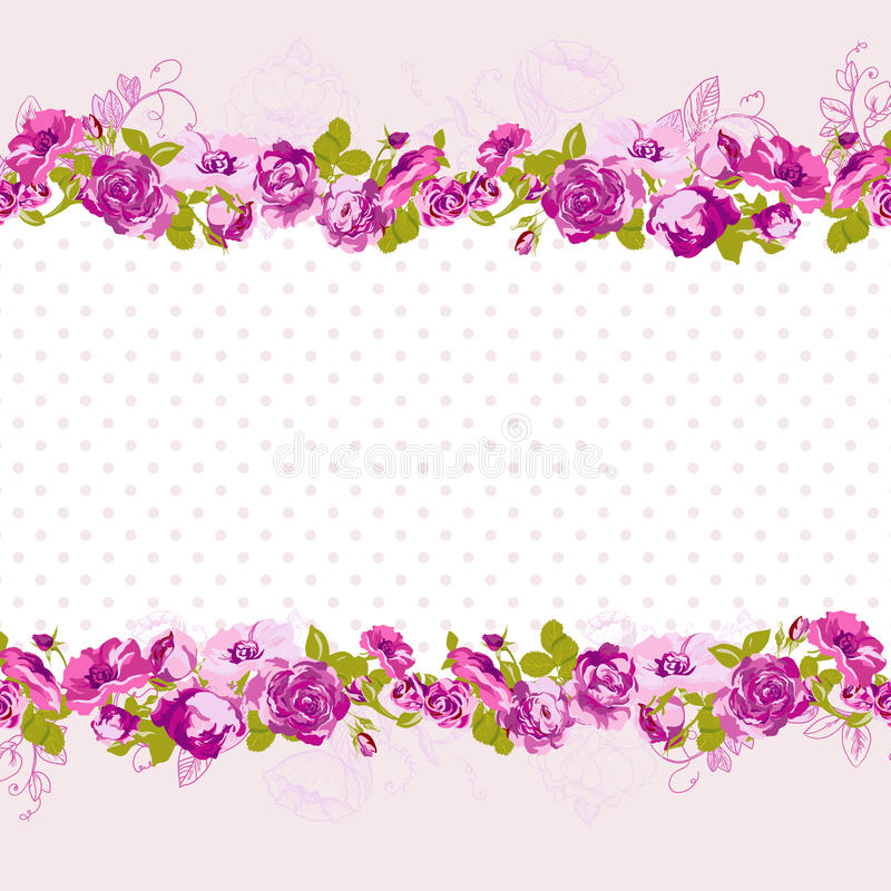 Seamless border of blossom roses stock vector illustration of seamless border of blossom roses vector floral greeting card spring background for wedding birthday or invitation design m4hsunfo