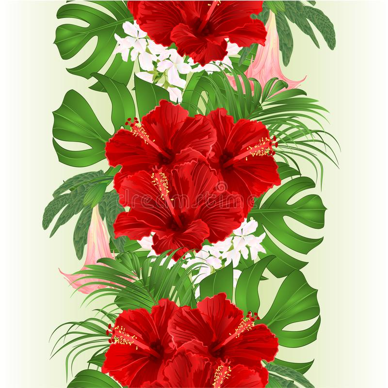 Seamless border bouquet with tropical flowers floral arrangement, with beautiful red hibiscus, palm,philodendron and Brugmansia royalty free illustration