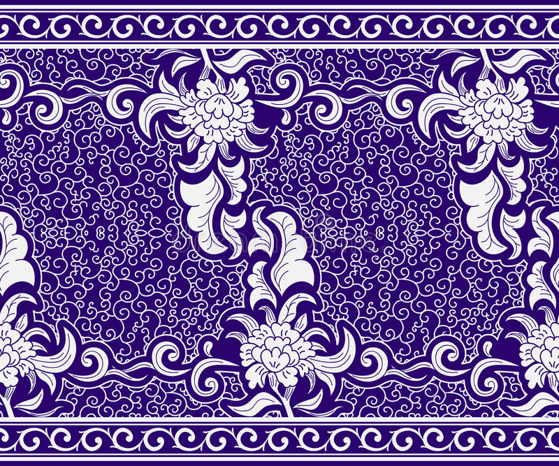 Seamless border in the Chinese style. Blue horizontal floral pattern. Ornament on motives of painting on porcelain. royalty free illustration