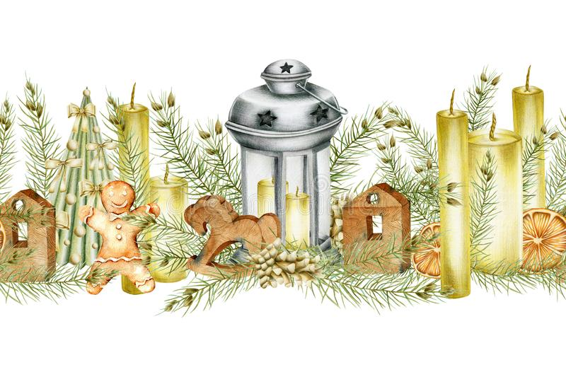 Seamless border of Christmas decorations lantern, candles, cones, gingerbread, wooden toys. Hand drawn on a white background royalty free illustration