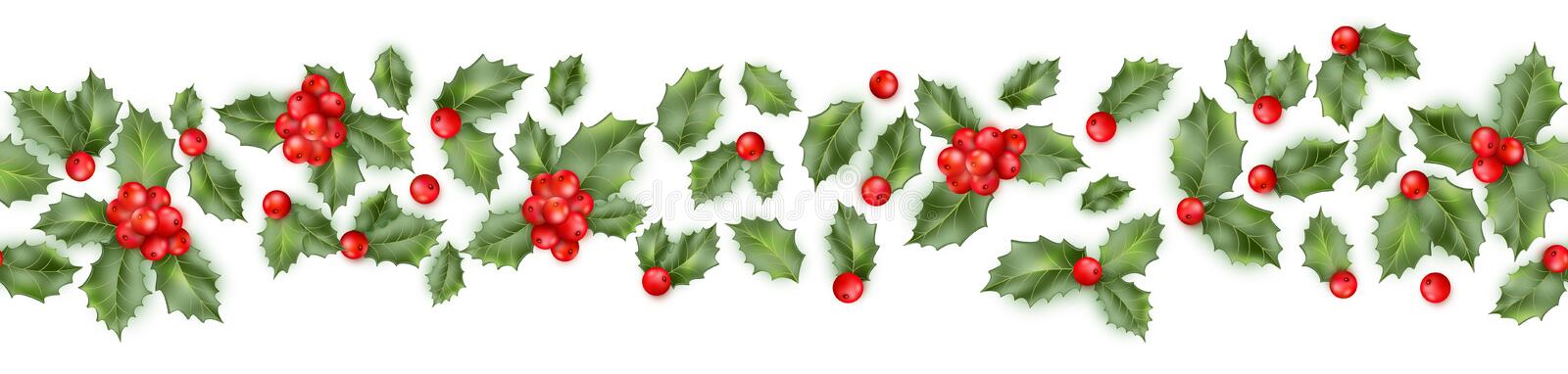 Seamless border from Christmas holly berry. EPS 10 vector stock illustration