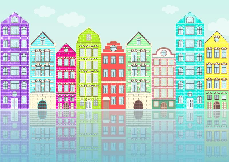 Seamless border with colorful flat houses, urban landscape, city background. Cute multicolored bright European brick houses in row vector illustration