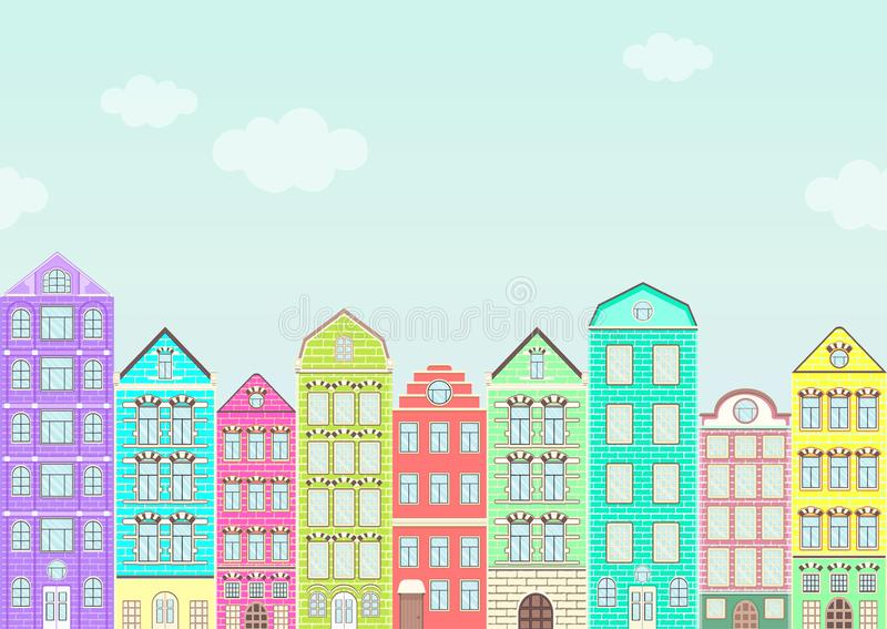 Seamless border with colorful houses, urban landscape, city background. Cute multicolored bright European brick houses stand in vector illustration