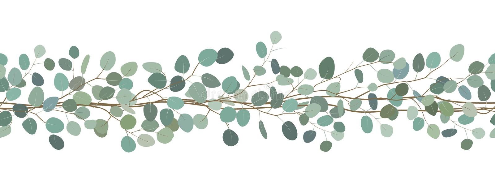 Seamless border of a eucalyptus branches. Floral frame. Vector hand drawn illustration. White background. royalty free illustration