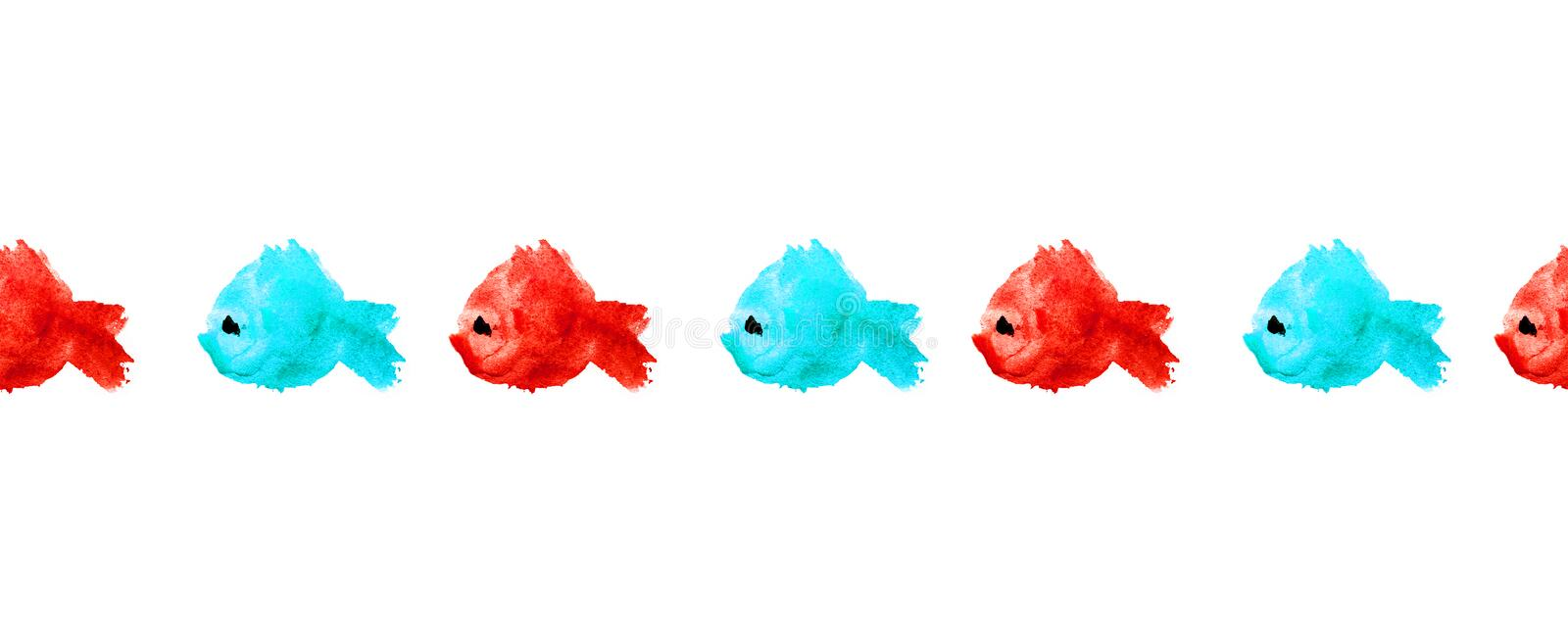 Seamless border or frame of colorful watercolor silhouette fishes as blots, stains, polka dot on white background. Blue and red royalty free illustration