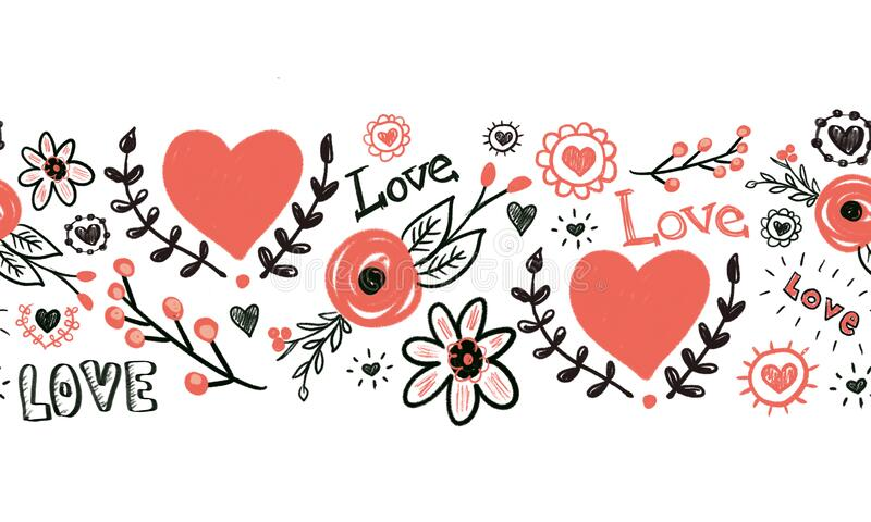 Seamless border Hearts flowers love Valentines doodles. Hand drawn repeating pattern. Red and black sketches of flowers.  vector illustration