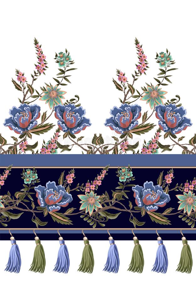 Seamless border with Indian ethnic ornament and fringes. Folk flowers and leaves for print or embroidery. Vector illustration. Seamless border with Indian royalty free illustration