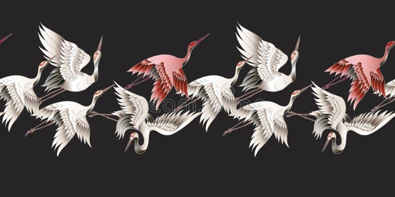 Seamless border with Japanese white crane in batik style. Vector illustration. Seamless border with Japanese white crane in batik style. Vector vector illustration
