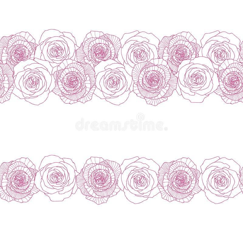 Seamless border made of rose flower. S vector illustration