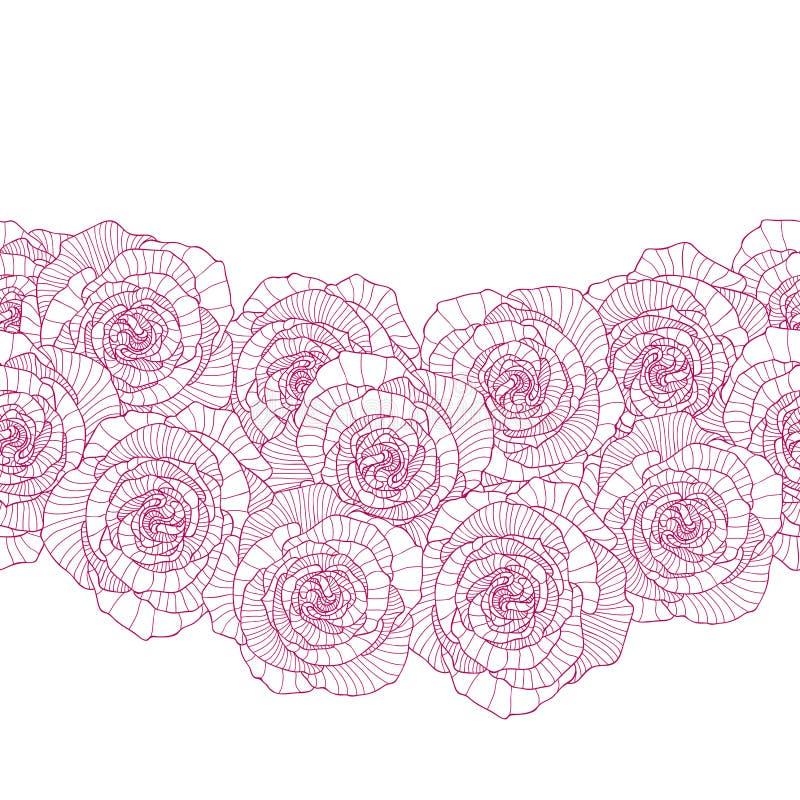 Seamless border made of rose flower. S royalty free illustration