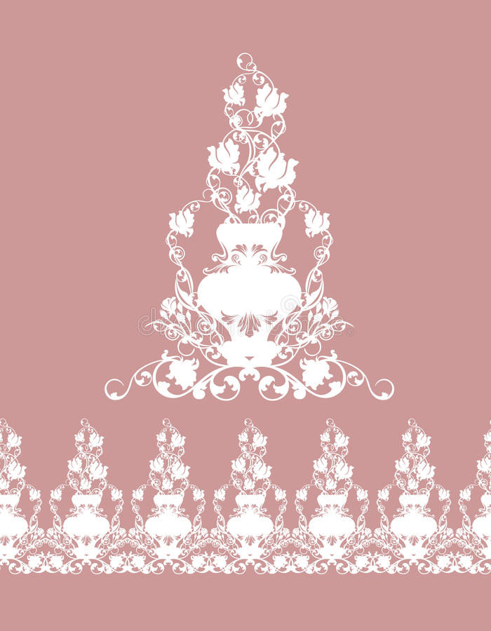 Seamless border made of rose flowers in vases. White silhouette design of vintage garden royalty free illustration
