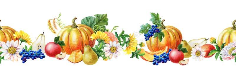 Seamless Border of Orange pumpkin,blue grape,Red apple,pear.Watercolor illustration on white background. royalty free illustration
