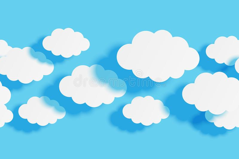 Seamless border with paper clouds on blue sky background for Your design. Seamless border with paper clouds on blue sky background stock illustration