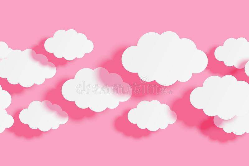 Seamless border with paper clouds on pink sky background for Your design. Seamless border with paper clouds on pink sky background stock illustration