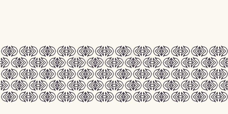 Seamless border pattern hand drawn little leaf stripe background. Ethnic nature stripe. Vector line art ribbon edge trim royalty free stock images