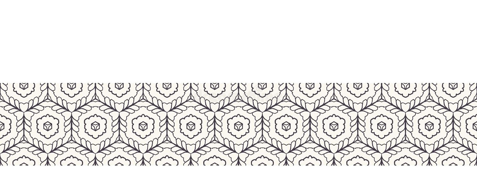 Seamless border pattern hand drawn honeycomb trellis background. Geometric monochrome cell stripe. Vector ribbon edging trim. Seamless border pattern honeycomb royalty free illustration