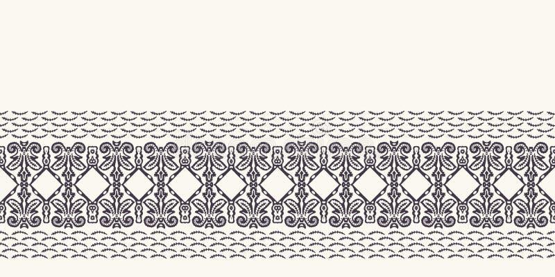 Seamless border pattern hand drawn ornamental azulejo mosaic background. Geometric monochrome stripe. Vector intricate line art. Seamless border pattern royalty free stock photo