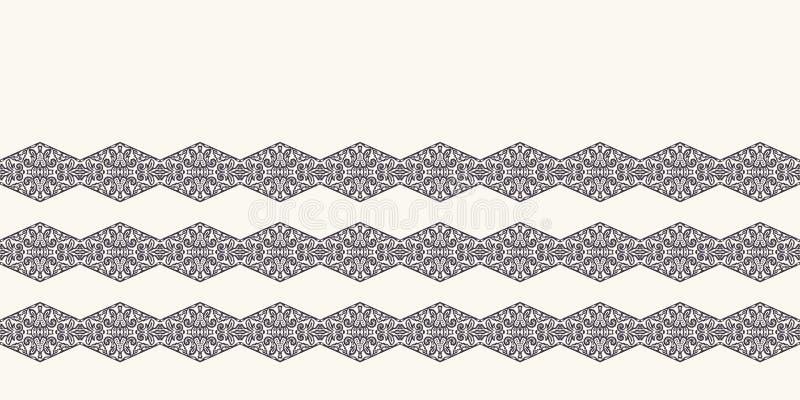 Seamless border pattern hand drawn ornamental background. Geometric diamond chevron stripe. Vector line art edging ribbon trim. Seamless border pattern vector illustration