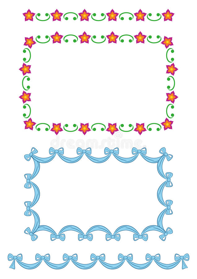 Download Seamless Border Patterns-flowers, Ribbon Stock Vector - Image: 14095164