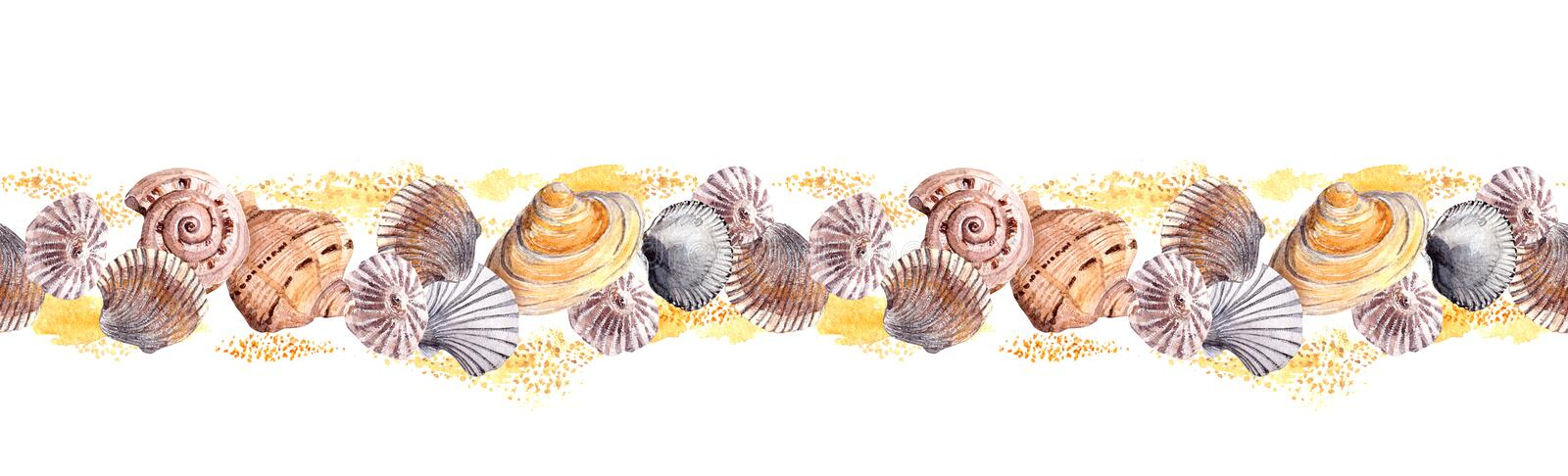 Seamless border ribbon with seashells in sand. Watercolor frame. Sea shell swatch on white background. Watercolor drawing stock illustration