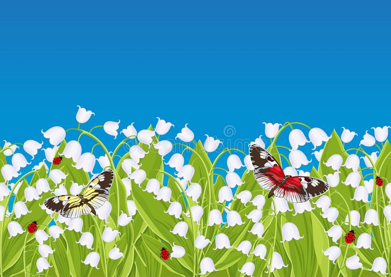 Seamless border with spring flowers lily of the valley, floral frame, banner, vector illustration. White buds bluebell, green. Leaves with sitting butterflies stock illustration
