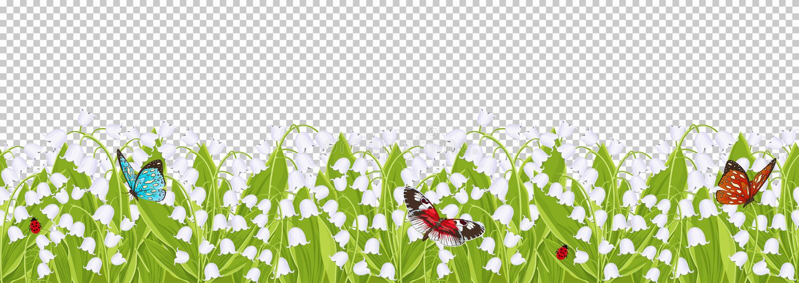 Seamless border with spring flowers lily of the valley, floral frame, vector illustration. White buds bluebell, green leaves with. Sitting butterflies and vector illustration