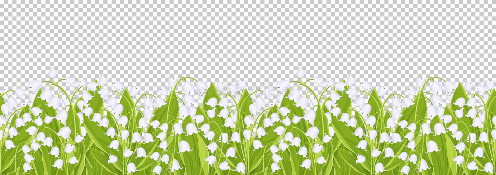 Seamless border with tender spring flowers lily of the valley, floral banner, frame, vector illustration. White buds forest flower. Bluebell, green stalks and royalty free illustration