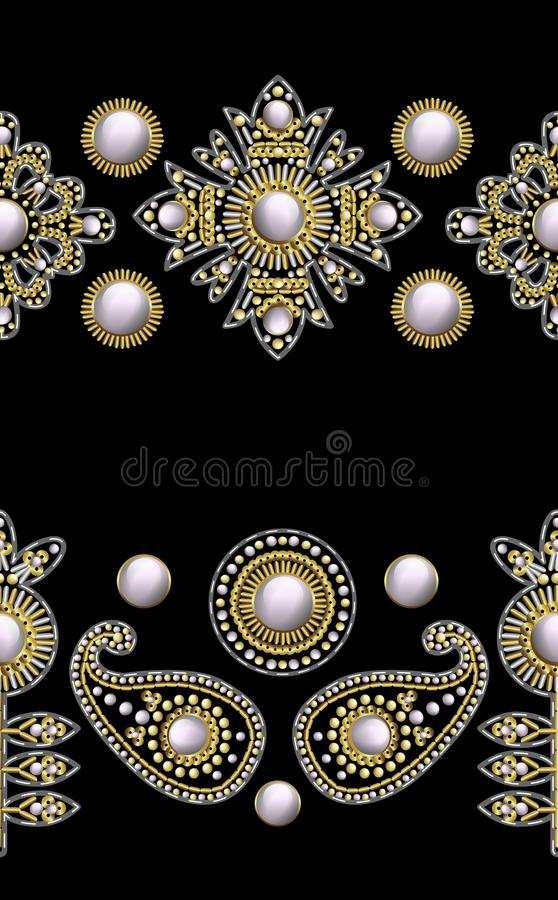 Seamless border from textile embroidered patches with sequins, beads and pearls. Vector illustration. Seamless border from textile embroidered patches with royalty free illustration
